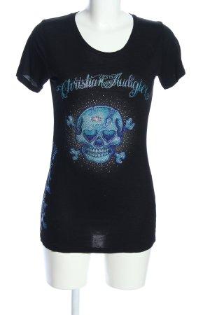 Christian Audigier T-Shirt schwarz-blau Motivdruck Casual-Look