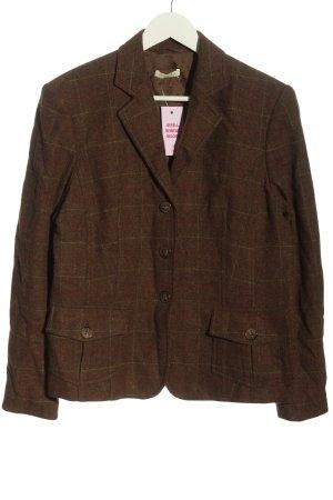 Christian Berg Korte blazer bruin geruite print zakelijke stijl
