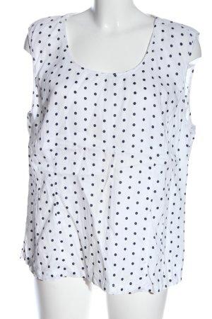 Christian Berg Blouse en lin blanc-bleu imprimé allover style décontracté