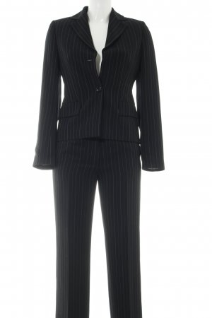 Christian Berg Pinstripe Suit black striped pattern business style