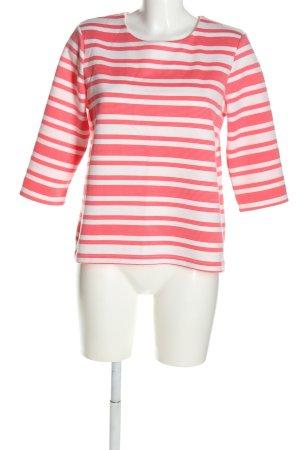 Christian Berg Maglione girocollo bianco-rosa motivo a righe stile casual