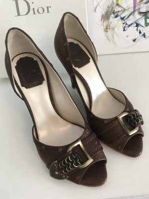 Christian Dior High-Front Pumps brown-dark brown leather