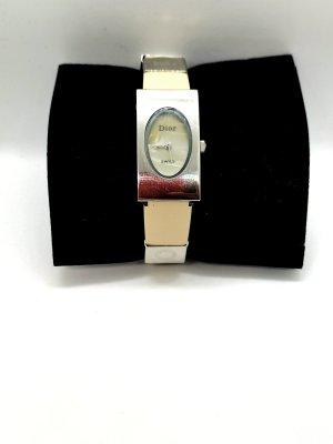 Christian Dior Reloj con pulsera de cuero color plata-beige claro
