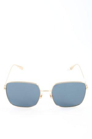 Christian Dior eckige Sonnenbrille goldfarben-blau Casual-Look