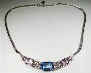 Christian Dior Necklace light blue-silver-colored