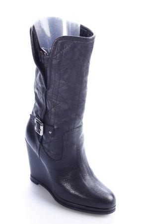 Dior Keil-Stiefeletten schwarz Steppmuster Elegant