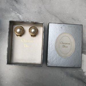 Christian Dior Klips biały-złoto