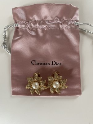 Christian Dior Clip d'oreille doré-blanc
