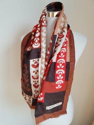 Christian Dior Sciarpa di seta rosso-marrone scuro Seta