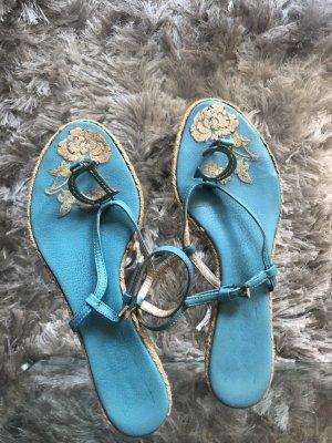 Christian Dior Sandalias con talón descubierto turquesa