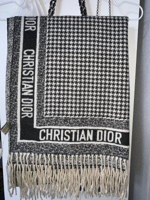 Christian Dior Sjaal met franjes wit-zwart