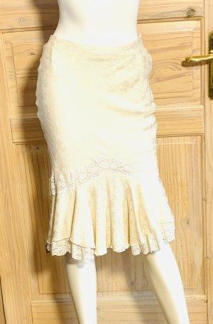 Christian Dior Falda Godets crema-blanco puro Seda