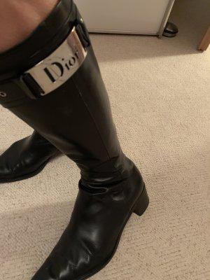 Christian Dior Botas con tacón negro Cuero