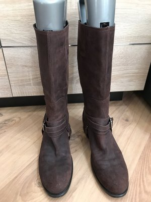Christian Dior Bottes plissées brun foncé cuir