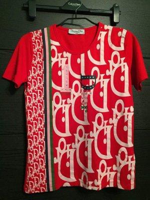 Christian Dior T-Shirt rot-weiß Motivdruck Casual-Look