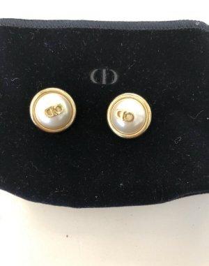 Christian Dior Orecchino a clip bianco-oro
