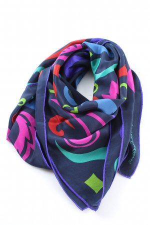 Christian Fischbacher Halsdoek blauw-roze abstract patroon casual uitstraling