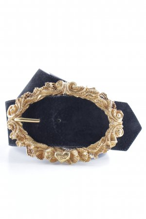Christian Lacroix Leather Belt black-gold-colored extravagant style