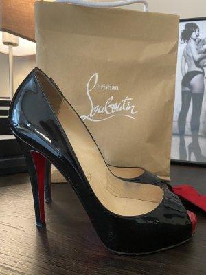 Christian Louboutin Peep Toe Pumps black-red leather