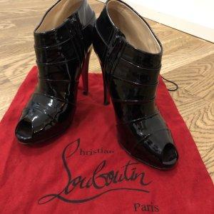 Christian Louboutin Peep Toe Booties black leather