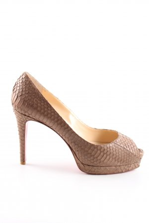Christian Louboutin Peeptoe Pumps braun Animalmuster Casual-Look