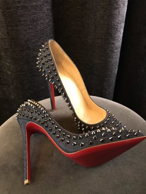 Christian Louboutin Pigalle 120 Studs Denim Pumps