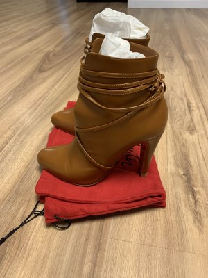 Christian Louboutin Lace-up Booties cognac-coloured leather