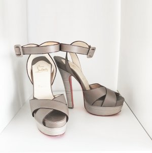 Christian Louboutin Platform High-Heeled Sandal grey brown-grey leather