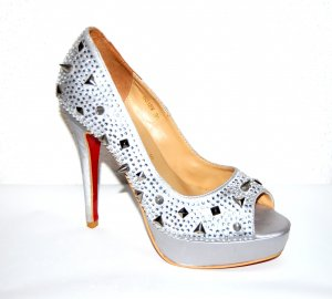 Christian Louboutin Silver Lady Peep Spikes - Plateau High Heels - Peeptoes Gr.39