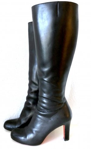 Christian Louboutin Stiefel 39 Schwarz Leder Kniehoch High Heels 8cm Boots Black