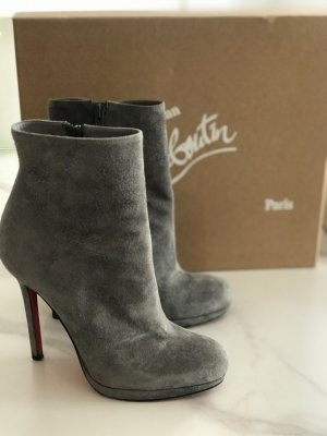 Christian Louboutin Zipper Booties silver-colored suede
