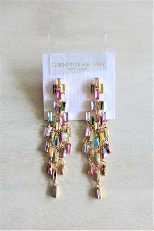 Christian Siriano New York Ohrringe Stecker Hänger gold Strass pastell vintage Look NEU