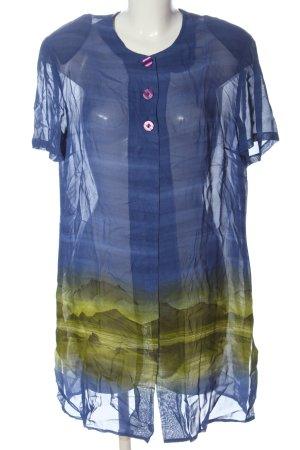 Christine Laure Chaqueta tipo blusa azul-caqui estampado con diseño abstracto