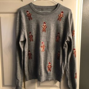 Christmas Jumper Gingerbread Man von Topshop Weihnachten Winter Gr. 38 Pailletten begehrt Influencer Blogger