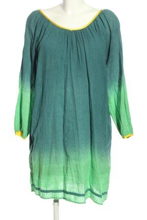 Christophe Sauvat Langarmkleid grün Farbverlauf Casual-Look