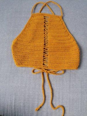 Crochet Top yellow-gold orange