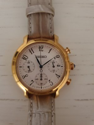 Seiko Watch With Leather Strap gold-colored