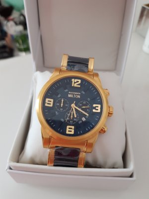 Alexander Milton Reloj analógico color oro-azul oscuro
