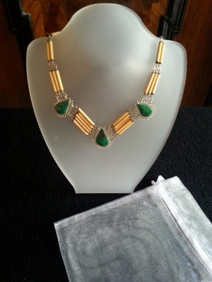 Collier Necklace green-gold-colored wood