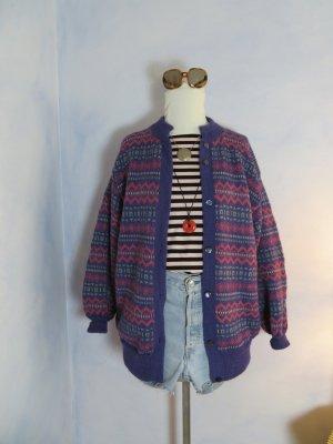 Vintage Cardigan norvégien multicolore laine alpaga