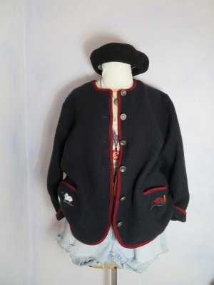 Vintage Chaqueta de lana azul oscuro-carmín