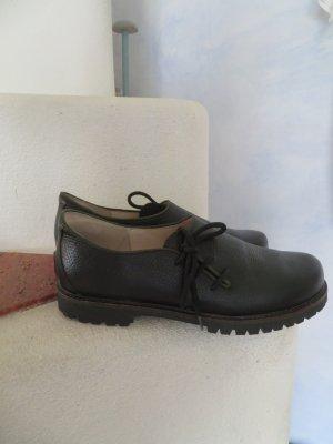 Chunky Schwarz Grüne Haferl Schuhe Trachtenschuhe - Größe 41 - Echtleder Stollenprofil
