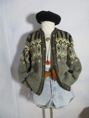 Chunky Vintage Nesjar echt Norweger Strickjacke Grau Off White - Schmuckborte - Metallverschluss - Gr. L - 100% Wolle