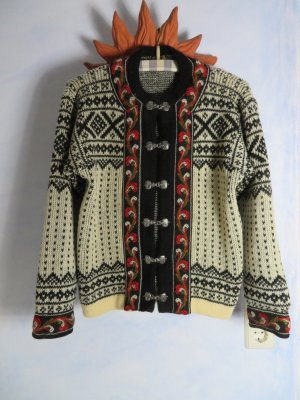 Chunky Vintage Nordstrikk Cardigan Off White Black Norwegian Floral Trimmed Traditionel Knit Jacket - M - 100% Wool warm Sweater metal closure