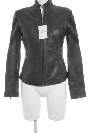Cigno Nero Leather Jacket anthracite casual look