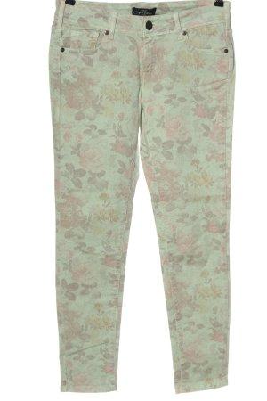 Cimarron Jeans a sigaretta verde-rosa stampa integrale stile casual