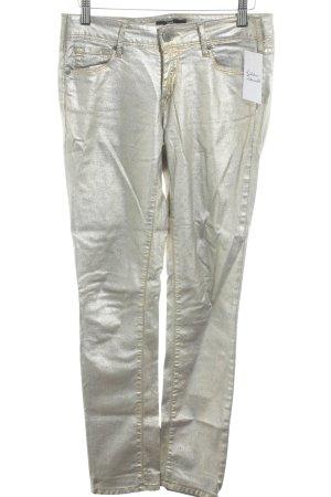 Cimarron Slim Jeans goldfarben-graublau Logo-Applikation aus Leder