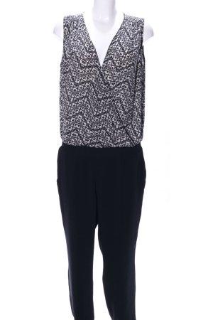 Cinque Jumpsuit schwarz-weiß grafisches Muster Business-Look