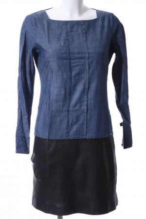 Cinque Langarmkleid blau-schwarz Webmuster Casual-Look