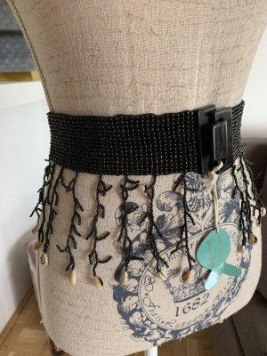 CINTA! Perlen Hüft-Gürtel - Handgemacht – Muscheln - Black/Schwarz